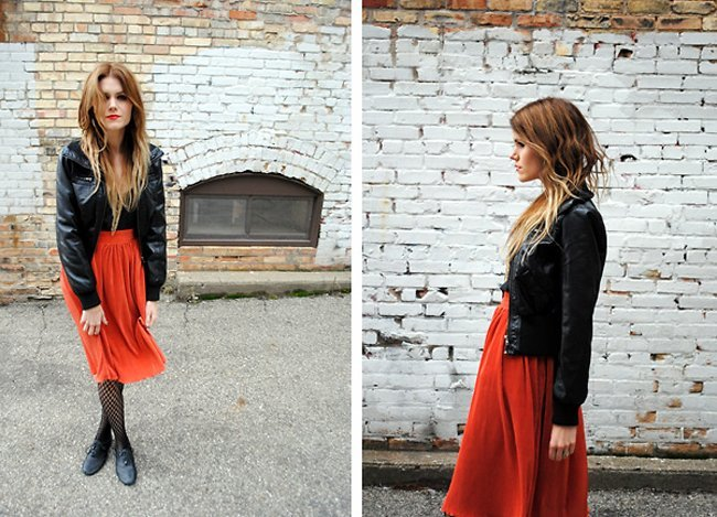 Rojo cuero Moda en la calle