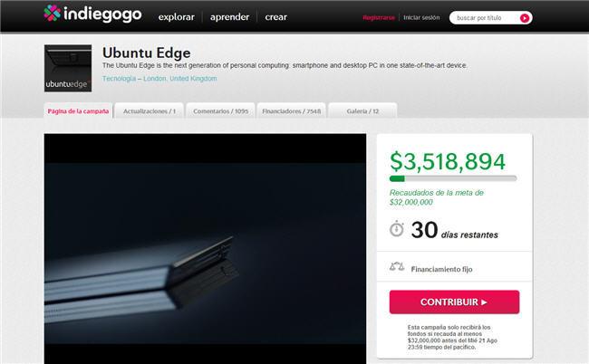 Ubuntu Edge en Indiegogo