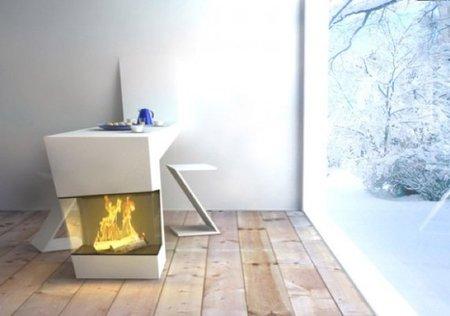 mesa diseño con chimenea 2