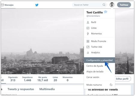 Eliminar Cuenta Twitter Perfil Configuracion
