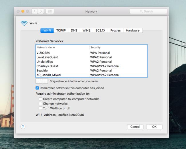 Olvidar Red Wifi Mac
