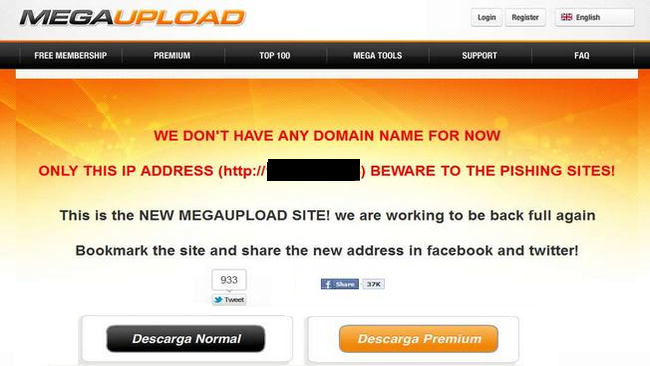 megaupload falsa sin IP