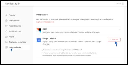 Conectar Todoist A Google Calendar