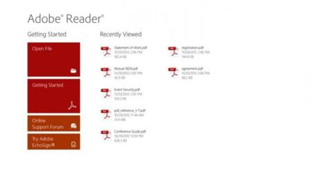 Adobe Reader ya está presente en Windows 8 y Windows RT