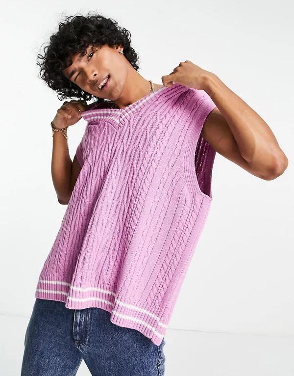 Chaleco rosa de estilo cricket de punto de ochos de ASOS DESIGN