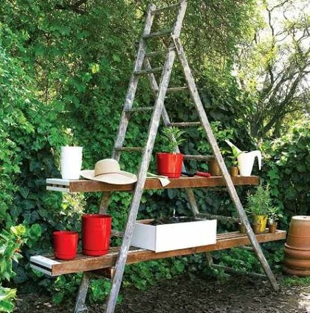 estante macetas jardín