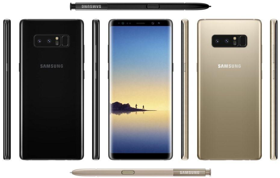Galaxy Note ocho Negro Y Dorado