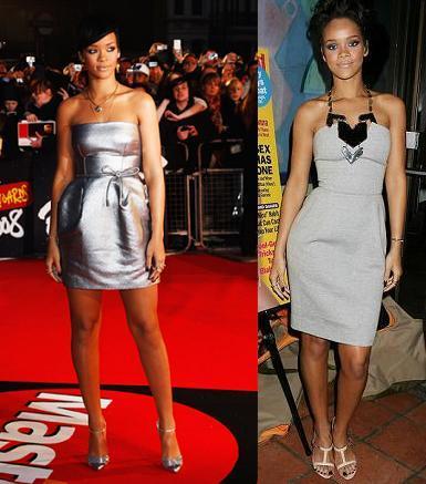 Vestidos parecidos: Rihanna en los Brit Awards 2008