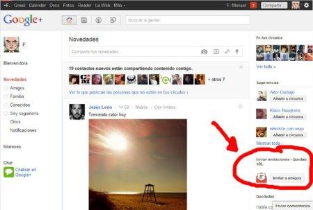 Google+ permite hasta 150 invitaciones por cuenta