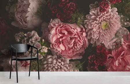 Papel Pintado Fotografico 3d Flores Rosa En Fondo Negro Chair Image