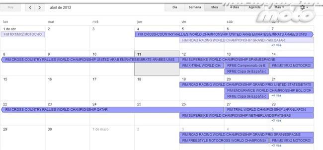 Calendario de competiciones