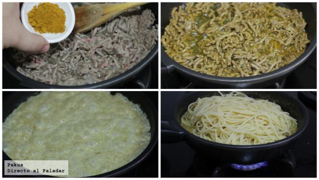 Espaguetis Curry Pasos