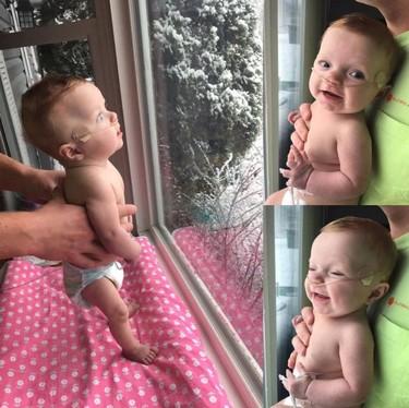 Comparte las fotos de su bebé de cinco meses viendo nevar por primera vez luego de que le dijeran que sufriría un aborto