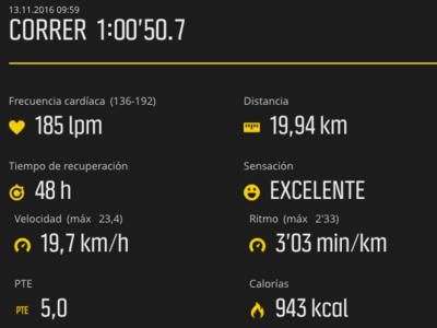 Estos son los datos de un atleta profesional que corre la Behobia a 3:01 min/km