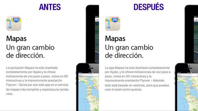 Web de Apple sobre los Mapas de iOS 6