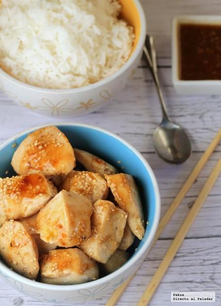 Tacos de pechuga de pollo en salsa de sésamo, receta fácil y rápida