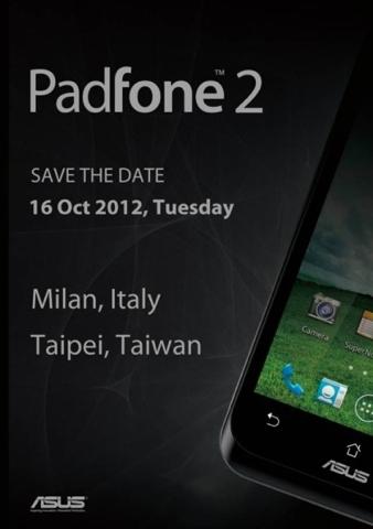 Asus Padfone 2 será presentado el próximo 16 de octubre
