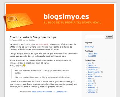 Simyo lanza su blog oficial