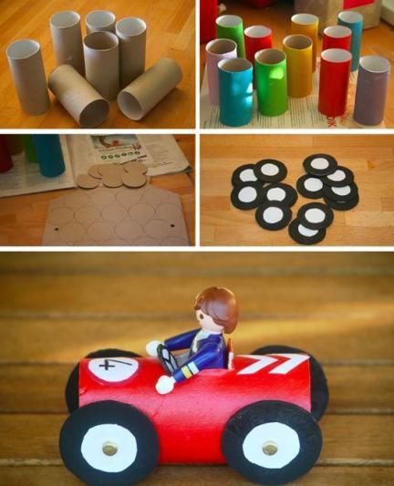 Cochecitos de colores hechos con tubos de papel higiénico