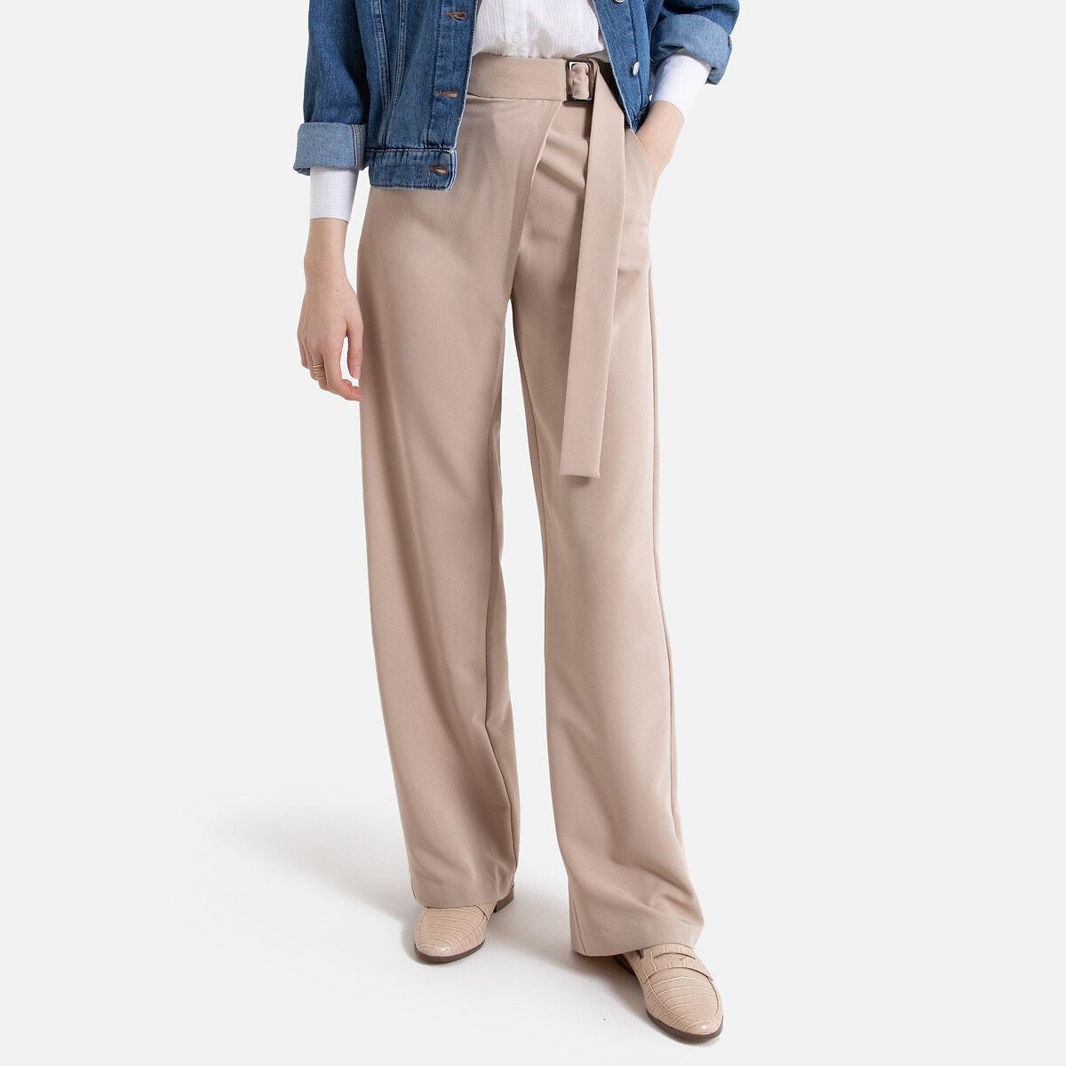 Pantalón ancho con efecto cruzado