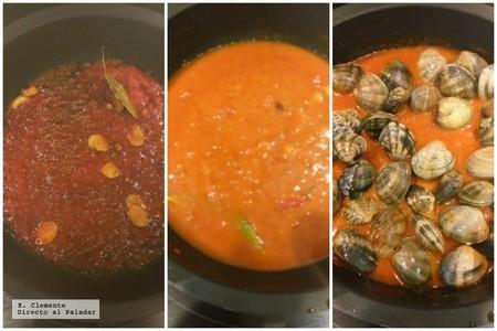 paso a paso almejas en salsa picantes