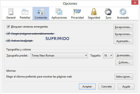 Firefox 23, supresión de elementos en Contenido