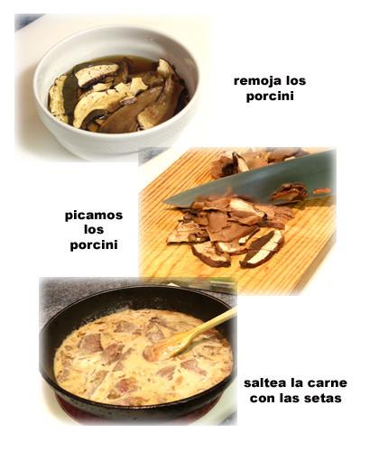 ternera con salsa porcini pasos