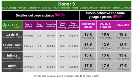 Precios Honor 9 Con Pago A Plazos Y Tarifas Yoigo
