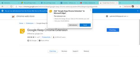 Google Keep Chrome Extension Chrome Web Store Microsoft Edge