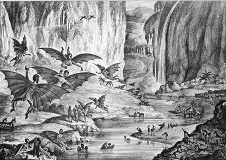 Great Moon Hoax 1835 New York Sun Lithograph 298px