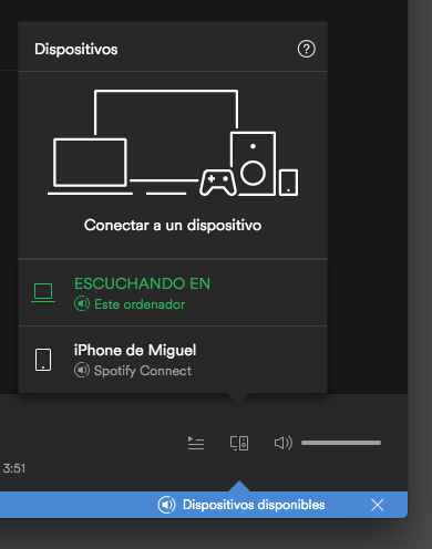 Spotify Dispositivos Disponibles