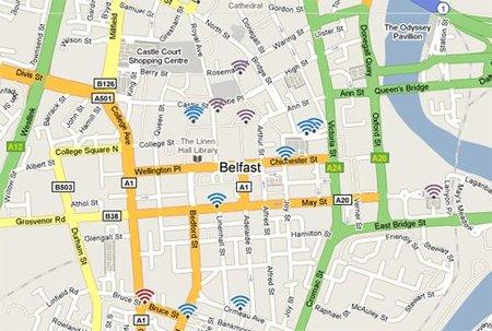 Belfast: mapa de puntos wifi