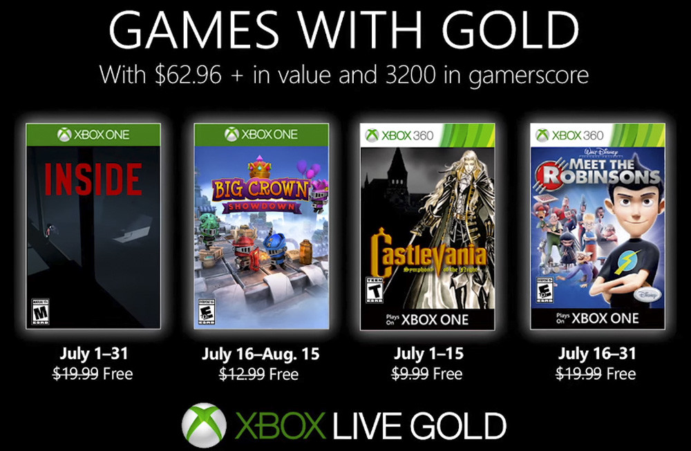 Inside y Castlevania proganizan los juegos de Games with Gold de julio