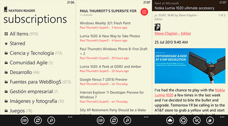 NextGen Reader en Windows Phone 8