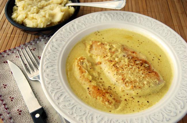 Pollo en salsa de mostaza sin lactosa
