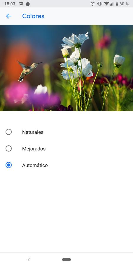Pixel 3a XL modos color pantalla
