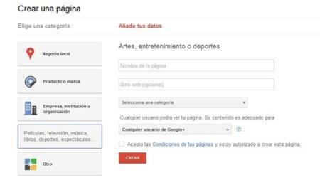 Selección de categoría de una página de Google+
