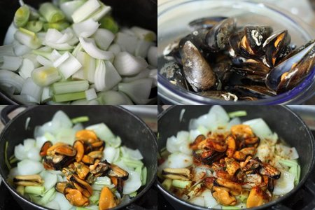 Receta de mejillones con verduras. Pasos