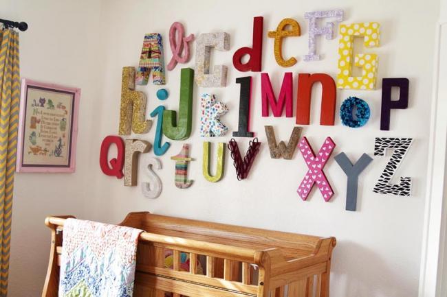 Letras del alfabeto para decorar las paredes de la habitaci n del beb - Letras bebe decoracion ...