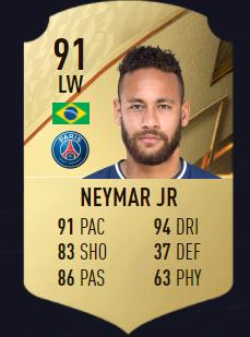 Neymar mejores atacantes EI FIFA 22