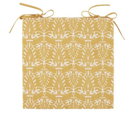Cojin Para Silla De Algodon Amarillo Con Motivos Decorativos Blancos Sutra