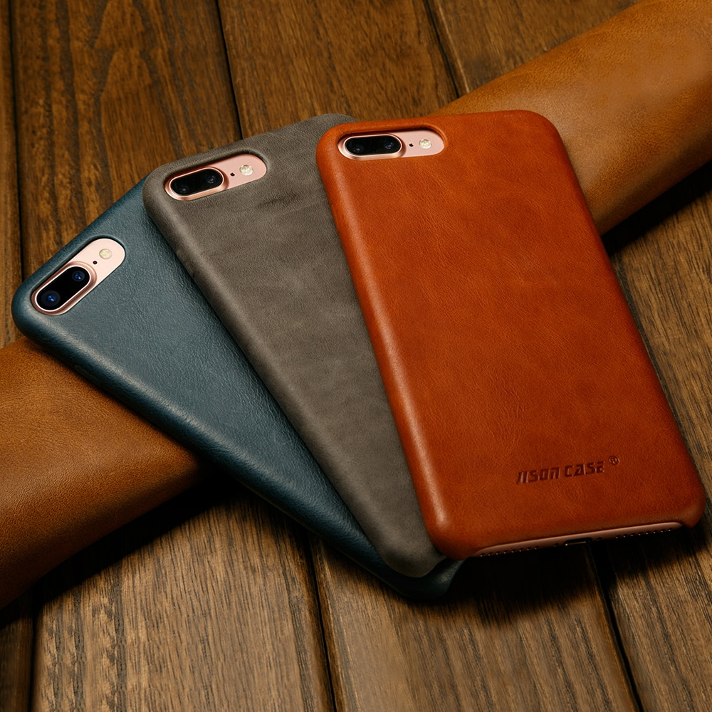 Funda de cuero Original Jisoncase para iPhone 8 8 Plus funda de iPhone auténtico funda de lujo delgada trasera funda para el iPhone 7 7 Plus Capa