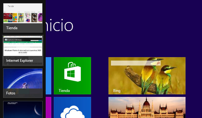 Panel de aplicaciones de Windows 8