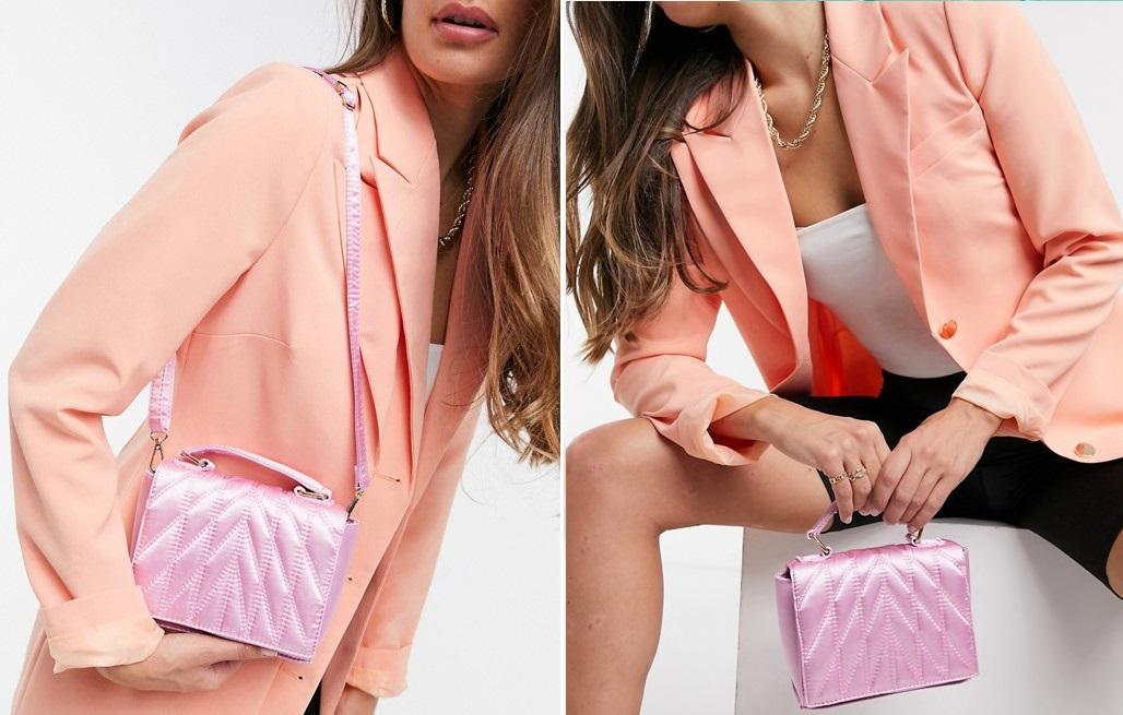Bolso rosa acolchado con efecto satinado