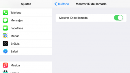 iOS iPhone Ajustes Llamada