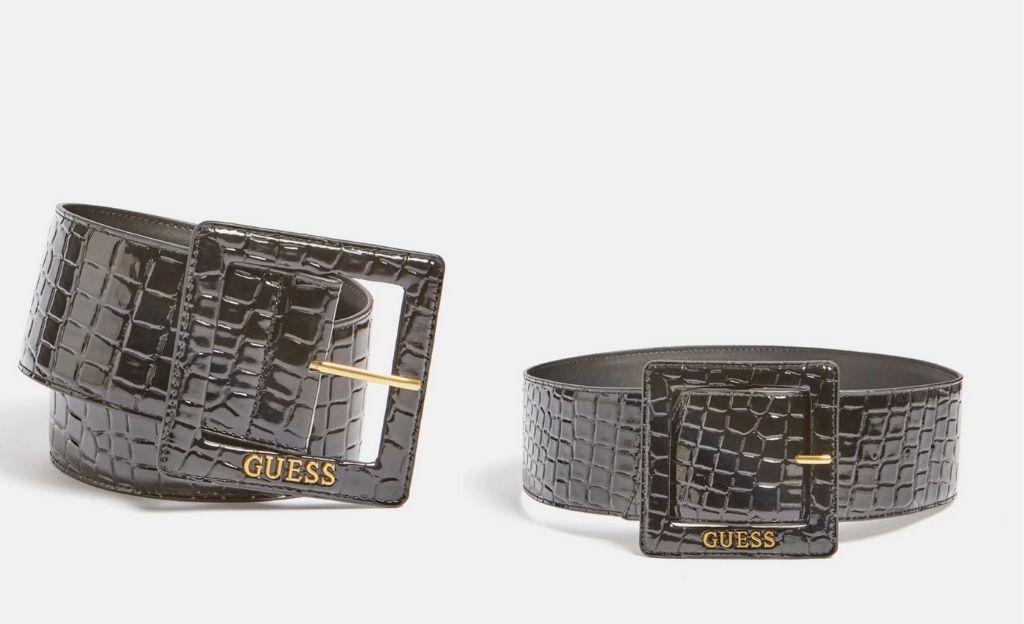 Cinturón ancho de mujer Guess en negro con grabado piel coco