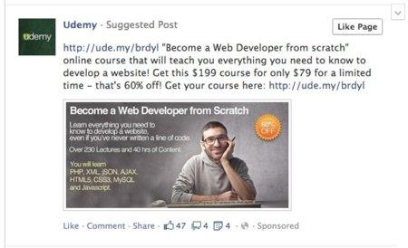 Facebook prueba un nuevo soporte publicitario: post sugeridos