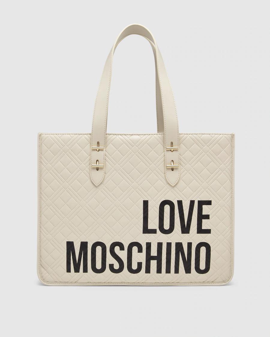 Shopping Love Moschino acolchado en tono beige con detalle de la marca y broche