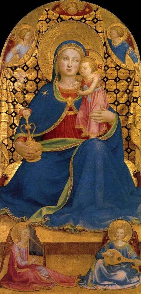 Virgen azul Jesús rosa