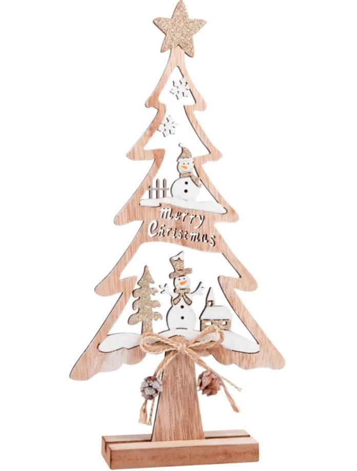 Decoración de Navidad en forma de árbol de color blanco y natural